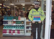 A cardboard cut-out in Superdrug