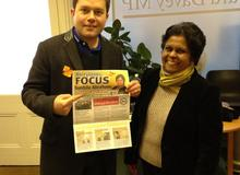Sushila Abraham on the campaign trail with fellow Liberal Democrat Robin Meltzer in Ed Davey&#039;s Berrylands office