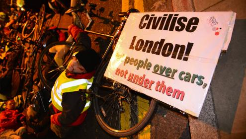 Cyclists protest outside Transport for London's headquarters