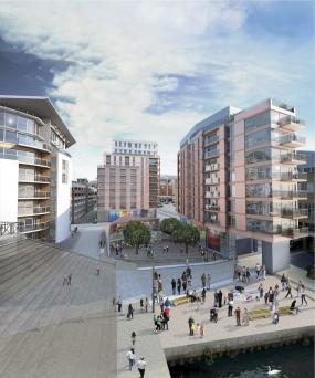 Impression of the Thames Side Wharf development