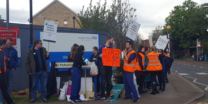Junior doctors at Kingston and Tolworth Hospitals picket on day two of all-out strike against Hunt's contract