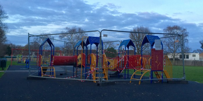 Vandals cause damage to a children's playground in Ham