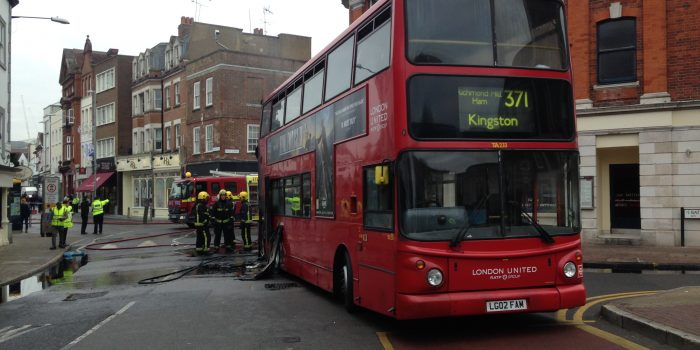 London bus catches on fire in the middle of Kingston High Street