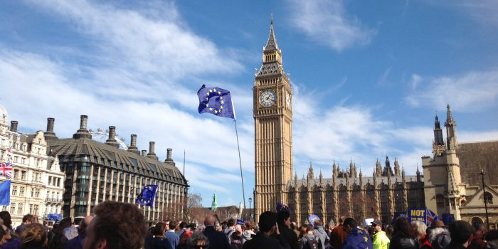 Thousands march through London to protest Brexit days before Article 50 triggers EU withdrawal