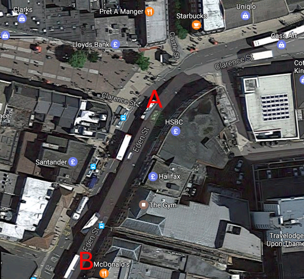 """Eden Street from the air. Points """"A"""" and """"B"""" refer to the interactive graphics below."""