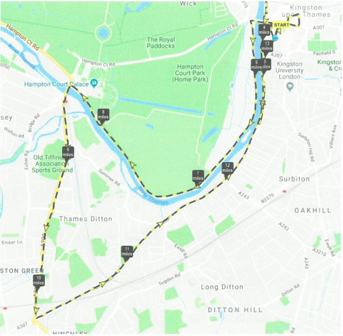 Marathon route through the scenic Thames