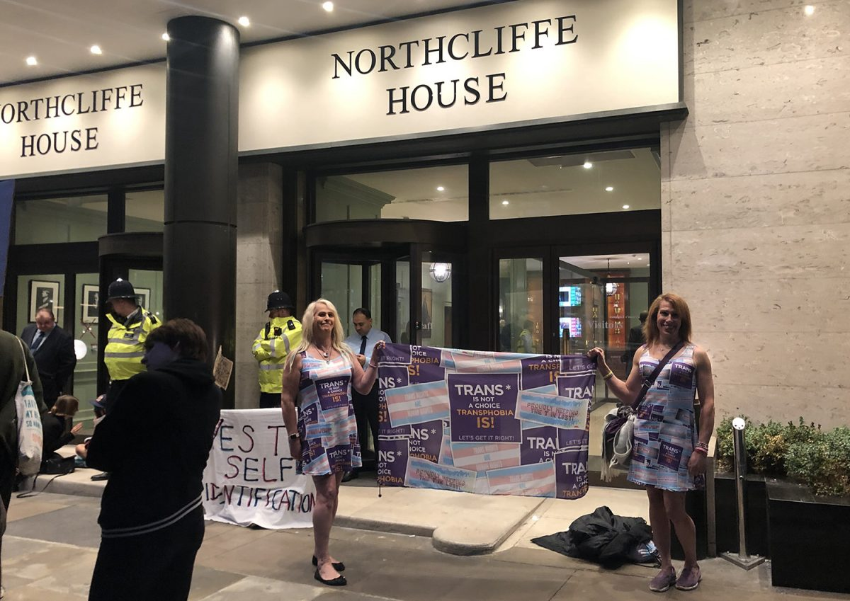 Trans women outside Daily Mail Northcliffe House protesting TERF in Metro Daily Mail