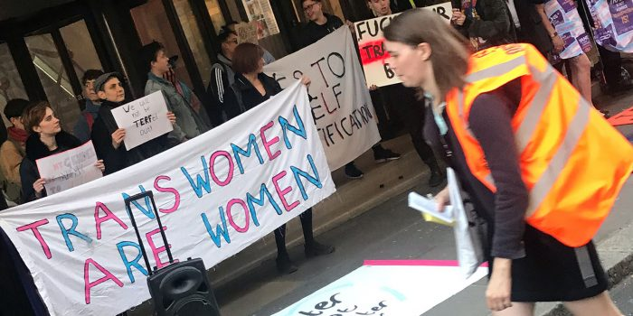 Trans activists protest outside Daily Mail group building