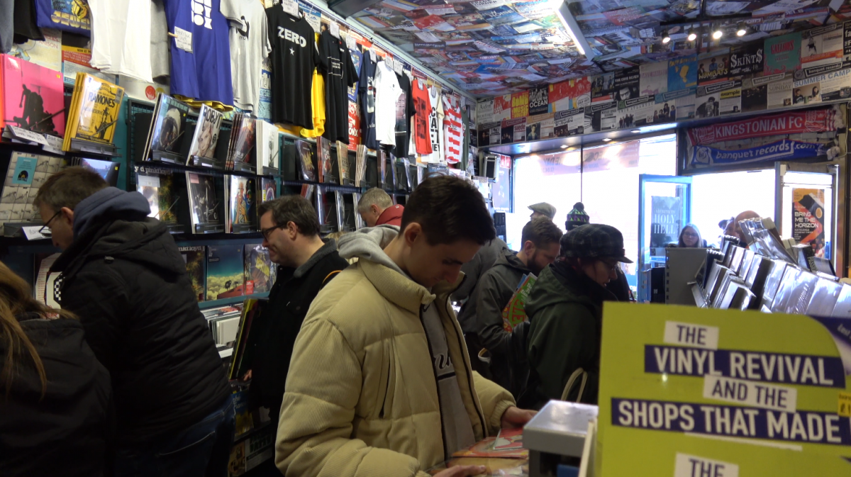 Customers browsing inside Banquet Records on Records Store Day