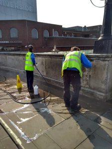 Community Rangers use jet-washes to remove graffiti from Kingston Bridge