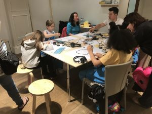 Children take part in touchboard workshop at hackSpace