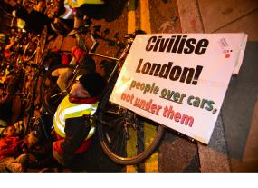 Cyclists protest outside Transport for London headquarters