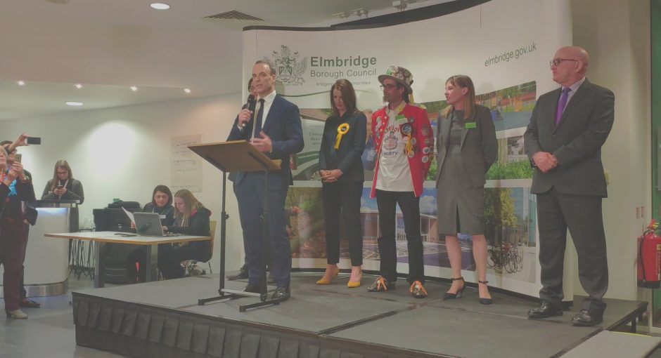 Dominic Raab retains seat in Esher and Walton after heated contest